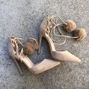 Lace Up Nude Heels with Faux Fur Balls
